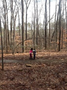Lower Elementary students studying birds in the woods.